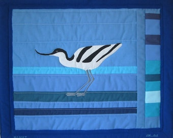 Avocet (Kluut) -- blue art quilt with bird