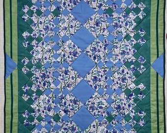 Wisteria -- Blue and Green Patchwork Throw Quilt