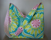 Featured in Etsy Treasury ....Amy Butler Pop Daisy Hobo Slouch Bag ...great bag for spring and summer...