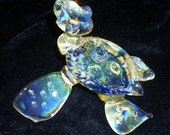"USA Handmade..ART GLASS,Baby Sea Turtle from the ""Baby Line"" collection,3.5 inches long, Dichro shell and silver fumed."