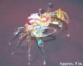 USA Handmade..Art Glass, large dungeness crab by solari glass, 5 to 6 inches across,fumed with 99% pure silver,Free Shipping.