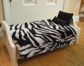 American Girl or Bitty Baby doll 4-piece zebra black and white bedding set comforter with 3 pillows