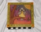 """WOOD BOX - Custom box - keepsake box - Owl  Box - God Box - 10"""" square x 5"""" high - Custom Order - Baby keepsake box/ whimsical/Gratitude box"""