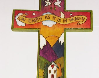 Wooden Cross, Handmade/ handpainted/ Whimsical/ Heaven/ Earth/ Christian/Made to Order