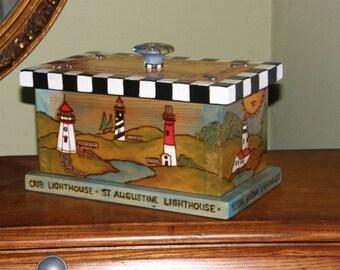 LIGHTHOUSE KEEPSAKE BOX - Keepsake box - lighthouse box - wooden box - custom made box