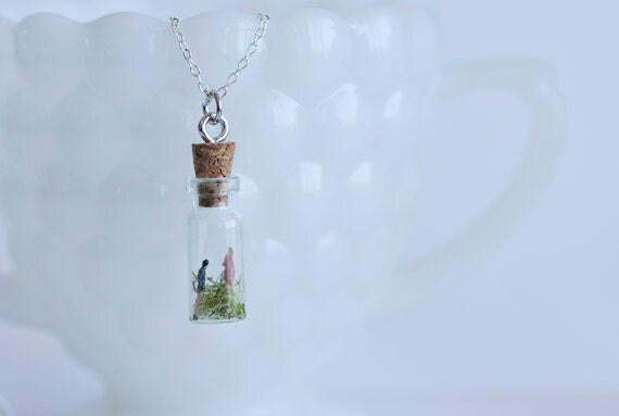 You and Me in a small glass bottle Necklace/ love,romance,relationships,couple, gift