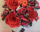 1 dozen handmade ladybug fabric flowers ,baby shower bouquet ,baby gift (custom orders welcome)