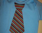 SALE - Fun Striped Tie on s/s Blue Bodysuit - Sizes 0/3 mos to 9/12 mos