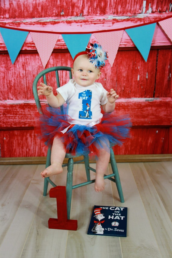 Dr Seuss Cat In The Hat First 1st Birthday Infant Tutu Outfit