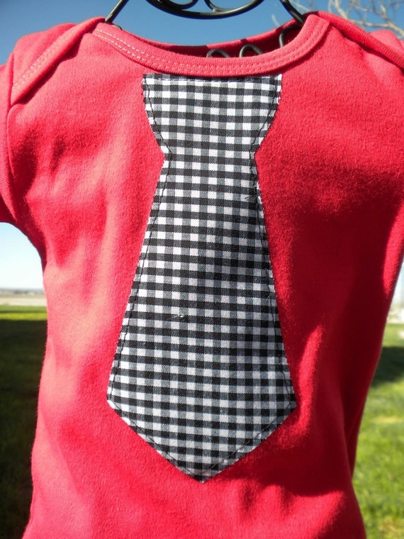 Sample Sale - Black Gingham Tie on Red Shirt - Size 0/3 mo. - Ready to Ship