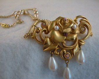 Dangling Pearls Large Golden Rose Vintage Brooch Necklace