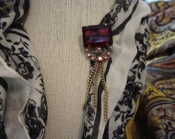 Art Deco Garnet Rhinestone Dangle Chain Brooch Pin