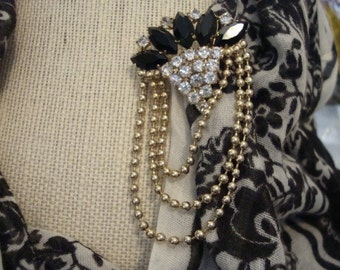 Vintage Brooch - Black and Clear Rhinestone and Chain