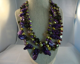 Tri-Strand Purple and Green Freshwater Pearl and Glass Leaves Necklace
