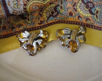 Art Deco- Dress Clip Vintage Duo in Amber And Citrine Rhinestones-Silver Toned