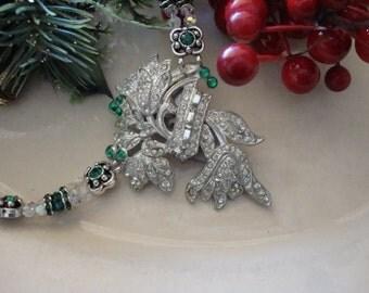 Emerald-Deco Floral Dress Clip Necklace With Crystals & Rhinestones