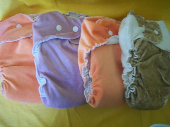 A Set of 4 Simple Fitted Cloth Diapers - Size Large- Bamboo and Cotton Velour