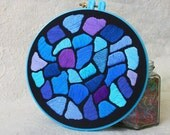 "Hand Embroidery Hoop Wall Art ""Hundertwasser Mosaic - Blue"" -  hand embroidered 7"" wall hanging"