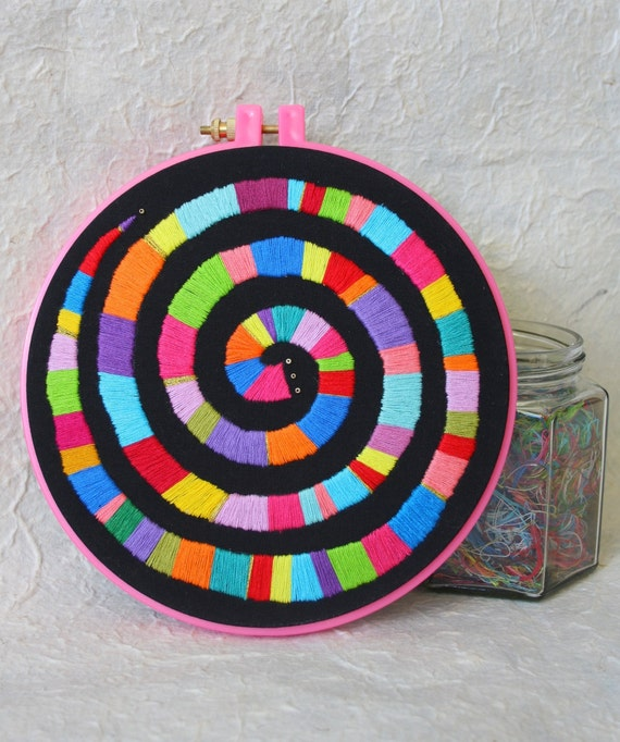 "Hand Embroidery Hoop Wall Art ""Rainbow Spiral"" -  hand embroidered 7"" wall hanging"