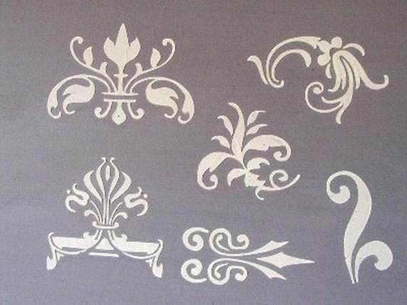 Raised Plaster Small Designs 2 Stencil Set Furniture Stencil