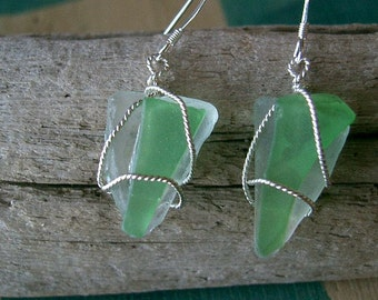 Green and Aqua Colored Sea Glass Wire Wrapped with Sterling Silver Dangle Earrings Beach Glass Chesapeake Bay