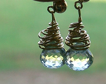 SALE 20% off Faceted Cut Green Quartz Teardrop Earrings with 14K Gold Filled Wire Wrap on posts