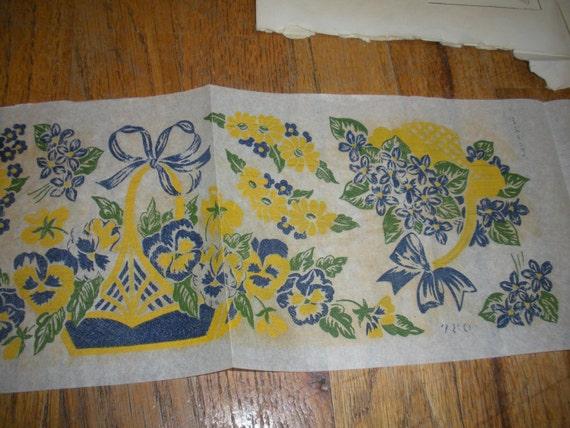 1953 Blue & Yellow Flowers Iron-On Transfers