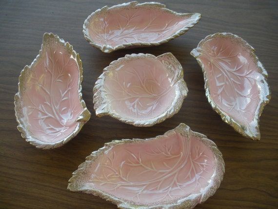 Pretty Pink Leaf Serving Dishes -SALE-