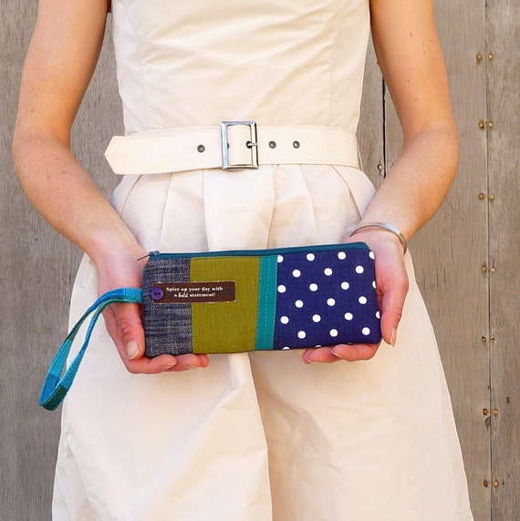 an Upcycled 'Too cute tealy denim' Waste Wonderful wristlet
