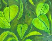 Green Leaves oil painting 12x12 fine art on canvas summer garden wall decor