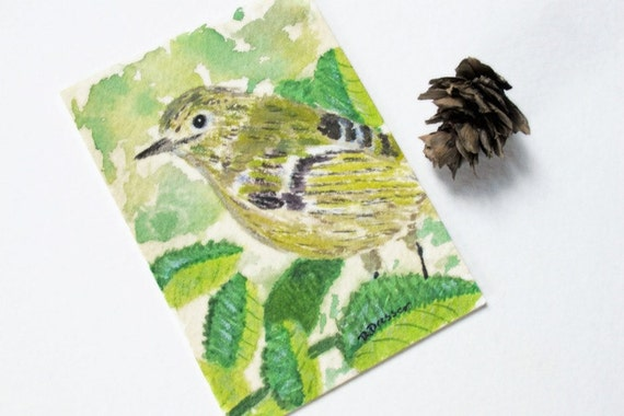 Bird & Leaves watercolor art card original miniature painting in professional mat Ruby Crowned Kinglet emerald green autumn gold Art on Sale