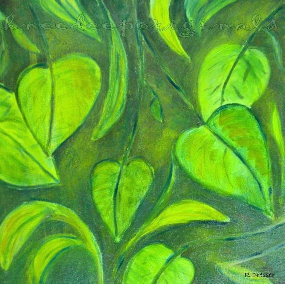 Green Leaves oil painting 12x12 fine art on canvas summer