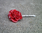 REAL Small Ruby Red TEA ROSE Bobby Pin, Hair Piece