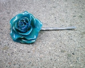REAL SMALL TEAL BLUE TEA ROSE BOBBY PIN, HAIR PIECE