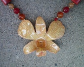 REAL Shades of Orange ORCHID and Carnelian, Coral and Aventurine 14K GF Necklace