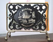 Letter Holder Desk Organizer Souvenir of Boston Massachusetts 1950s Vintage Collectible & Two Vintage Letter Openers