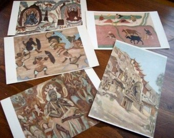 10 Chinese Color Prints Treasures of Tunhuang Caves.  Murals and sculptures are creation of Chinese laboring people over 1500 year period