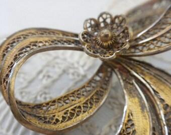 HALF OFF - Vintage Brass FILIGREE Pin