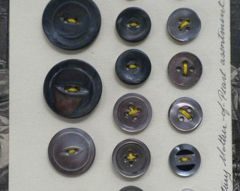 Mother of Pearl Buttons, Dark Gray Shell Buttons, Dress Designers Studio, Ateliers Supplies, Vintage Fashion Design