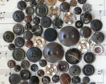 Chocolate Browns Vintage Buttons