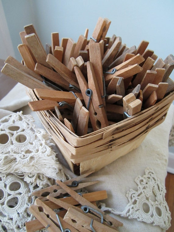 Weathered and Worn Wooden Clothespins