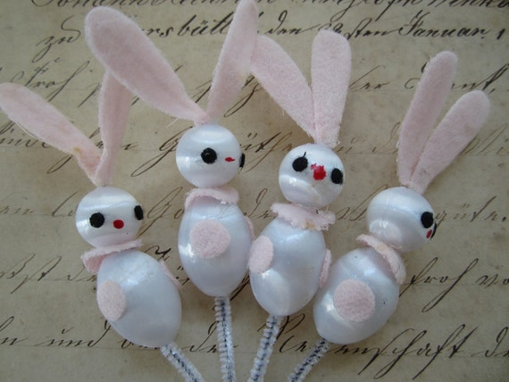 Vintage Japanese Pink Baby Bunnies Decorations