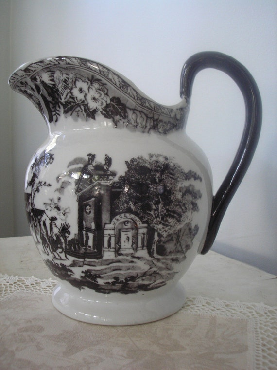 Black And White Transferware Ironstone Pitcher By