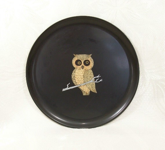 Vintage Owl Couroc Of Monterey Tray Round Black