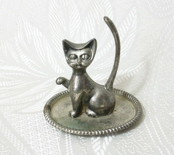 Vintage Cat Ring Jewelry Holder Tray Silver Plate