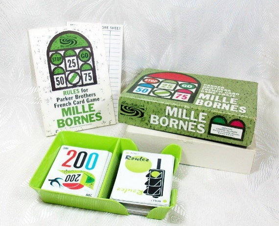 Vintage french card game mille bornes 1962 peachychicboutique for Dujardin 1000 bornes