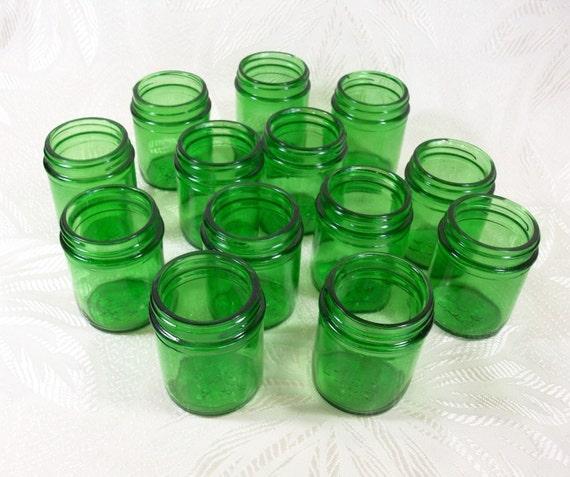 Vintage Glass Jars Emerald Green Metal Lids Duraglas