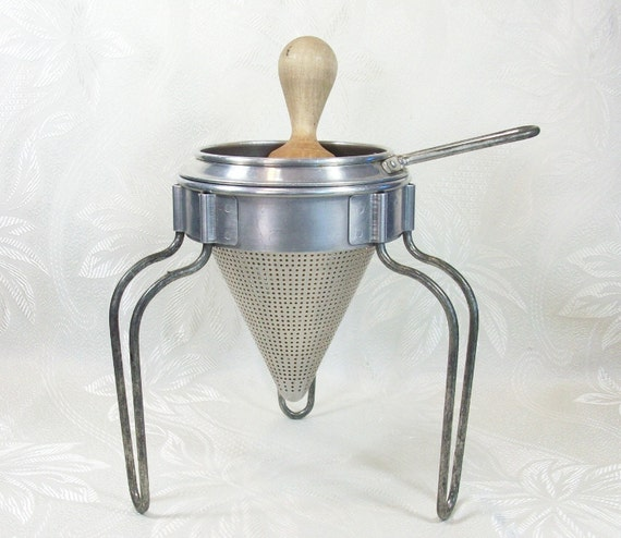 Antique Fruit Strainer Ricer Sieve Kitchen Metal Wood