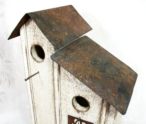 Vintage Bird House Wood Tin Shabby Chic By Peachychicboutique