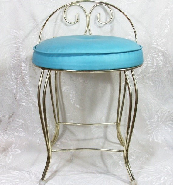 Vanity Seat Covers : Reserved for searover vintage vanity seat chair aqua cushion